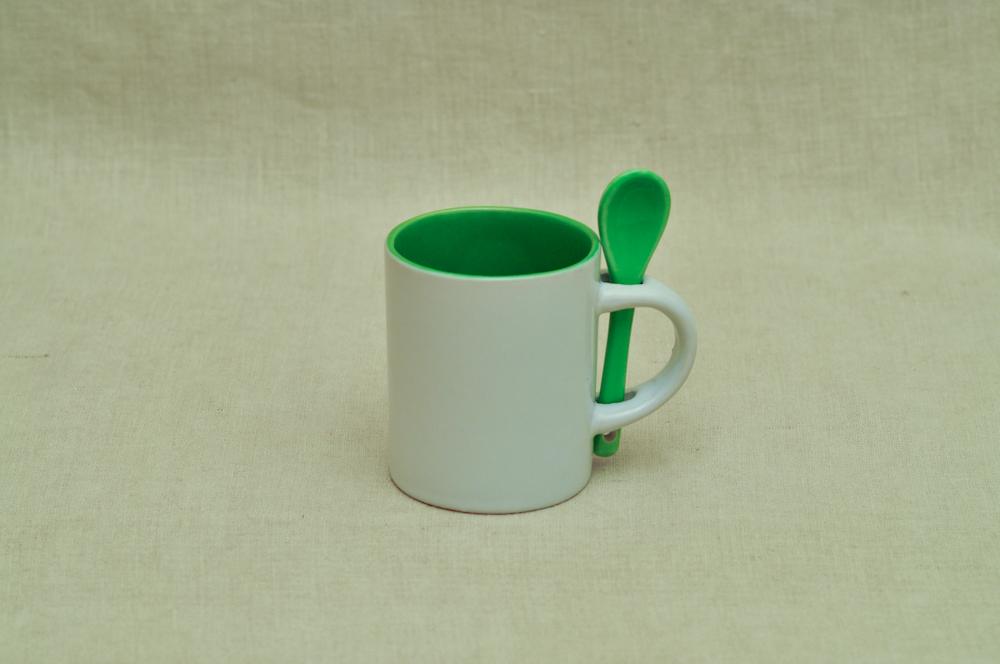 Kruus väike lusikaga roheline