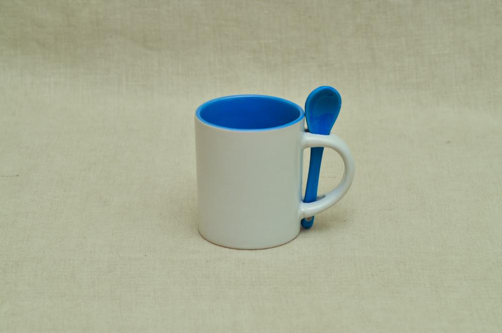 Kruus väike lusikaga sinine